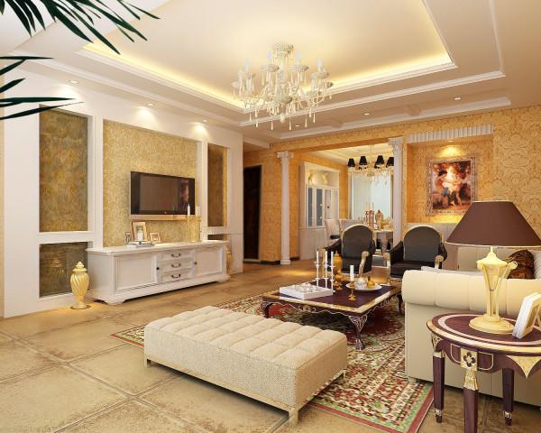 客厅:此空间是整个方案的核心部分,风格明确的电视墙,及顶面造型带有欧式原素,营造出通透简约的空间。