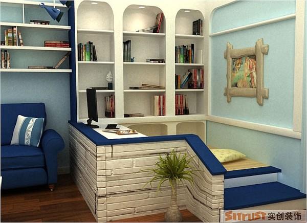 定制的梯形架靠在电视墙旁充当置物架,不落于俗。大型梯台弥补卧室的空缺榻榻米与拱形门书架的巧妙设计相结合。拱形门结构应用轻巧浪漫。