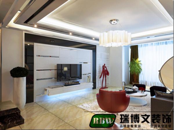 电视背景墙采用石膏板与茶镜相结合的方法,样式比较新颖。客厅的吊顶比较复杂,但是杂而不乱,层次感鲜明。灯带与茶镜相搭配,与电视墙造型相得益彰