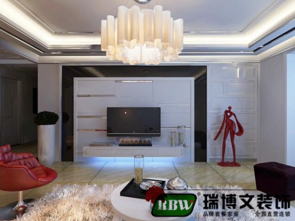 电视背景墙采用石膏板与茶镜相结合的方法,样式比较新颖。