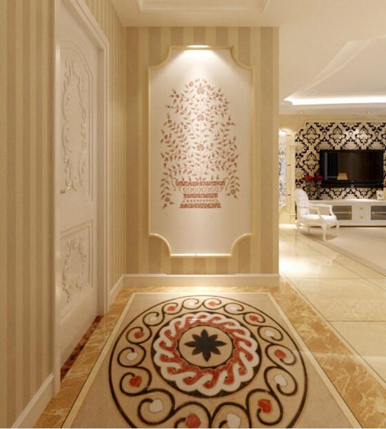 地上异样花样的铺贴与墙上整体雕刻花样的相协调,又使整体简洁的装饰增添了花样精细。