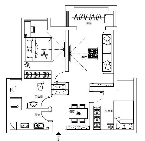 瀚海泰苑88平方两室两厅装修案例,平面布局图