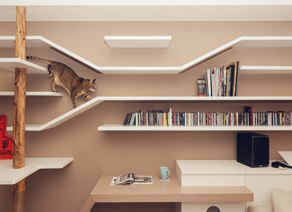 简约 二居 客厅 卧室 餐厅图片来自工长大本营装饰在爱猫的人都比较喜欢艺术的分享