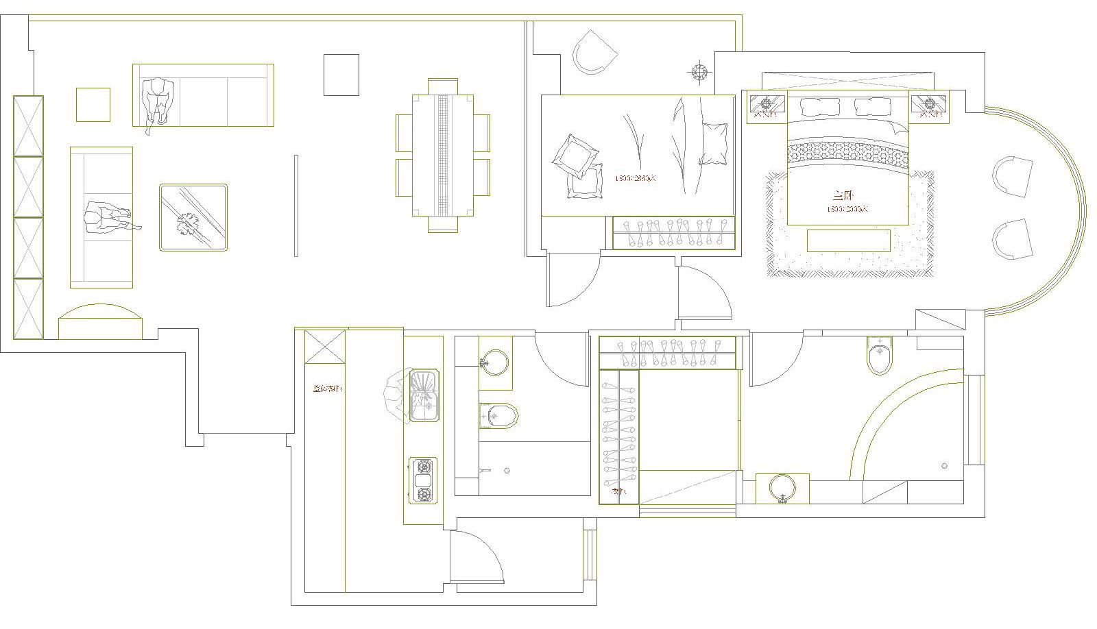 简约 三居 户型图图片来自今朝装饰老房专线在135平,三居,罗马假日的分享