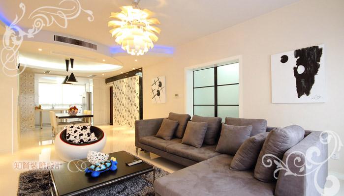 客厅图片来自上海知贤设计小徐在黑白演绎流行风尚----现代简约的分享