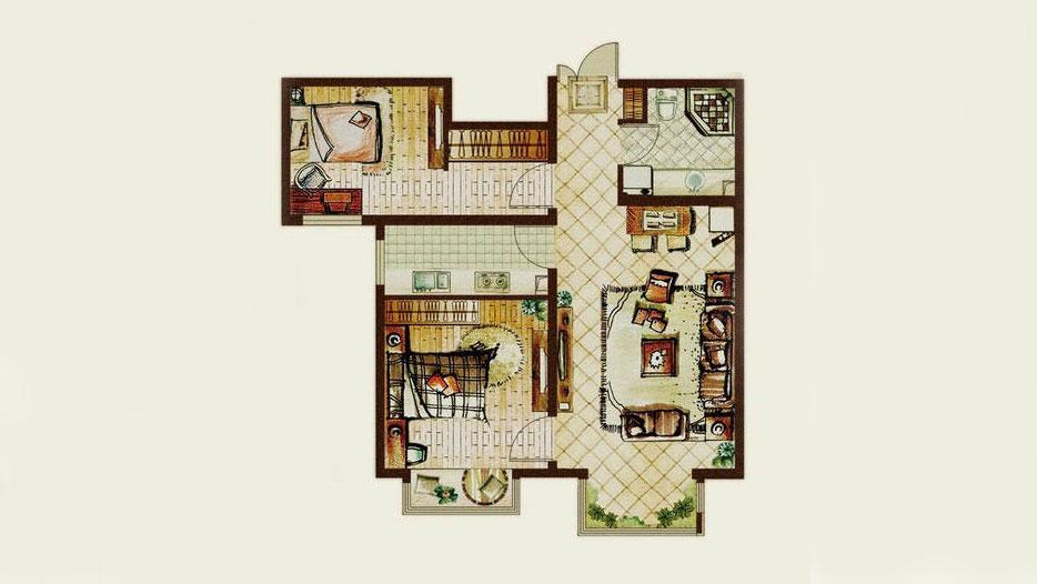 简约 中式 二居 三居 别墅 白领 收纳 旧房改造 80后 户型图图片来自周楠在首开熙悦山的分享