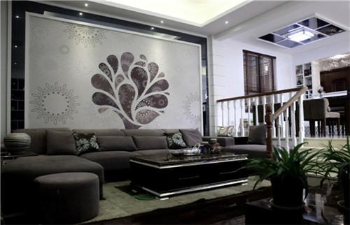 黑白灰三色组成的客厅,除了简单外,还给人沉稳的感觉