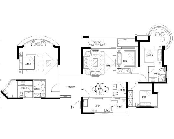 绿地乔治庄园-欧美风情-163平米四居室装修-平面布置图
