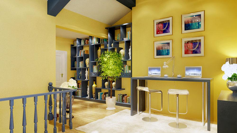 高度国际 诗婷 地中海 三居 书房图片来自高度国际装修设计诗婷在通翠景园   140㎡   三居室的分享