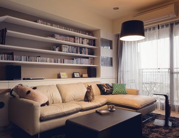 简约 二居 客厅 卧室图片来自工长大本营装饰在爱猫的人都比较喜欢艺术的分享