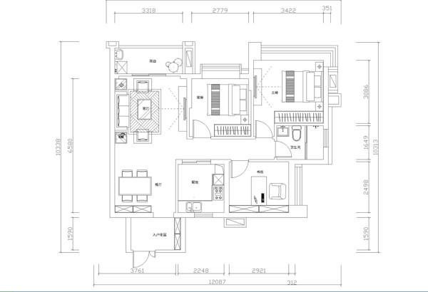 保利拉菲公馆-法式风格-90平米三居室装修-平面布置图