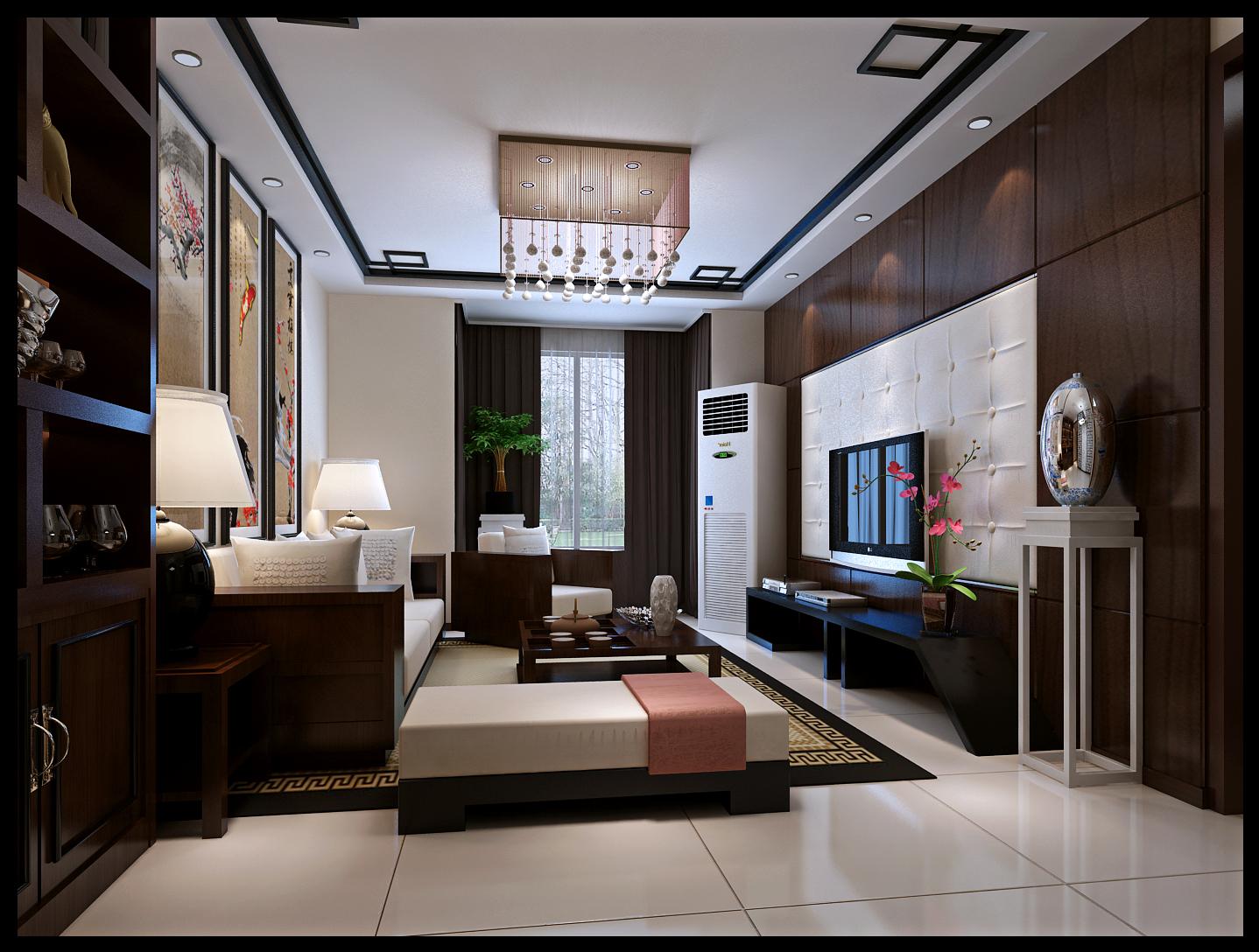 新中式风格 实创装饰 2居室装修 客厅图片来自北京实创装饰在筑华年小区86平2居室新中式风格的分享