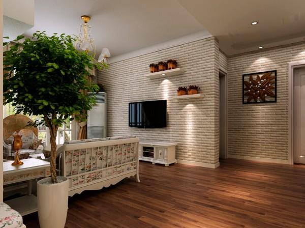 电视背景墙以文化砖壁纸做为背景,并且设计了阶梯式的隔板,摆放着业主喜欢的小花篮。玄关处挂着一幅枫叶式相框,这些小植物的加入,使田园气息更加浓烈。
