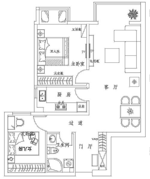 国风美唐二居室户型平面布置图展示