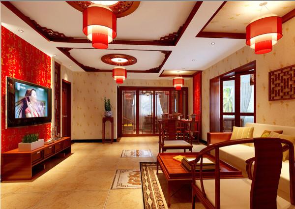 皇马花园-中式风格-107平米三居室装修-客厅装修效果图