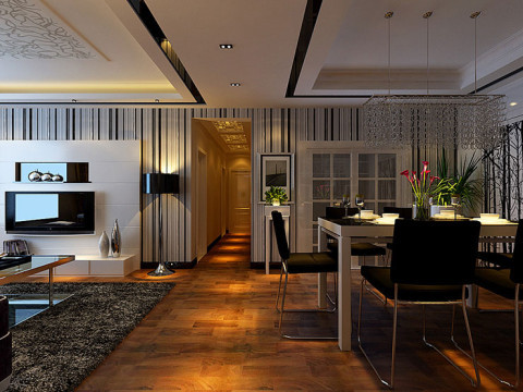 中原新城装修115平方三室两厅餐厅简约风格效果图,