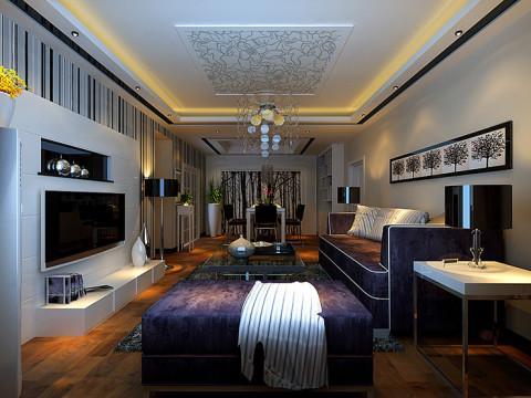 中原新城装修115平方三室两厅客厅简约风格效果图,