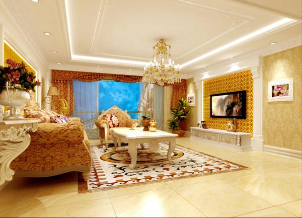 客厅内细致的基调,墙面色调为淡雅米黄色,结合石材和壁纸装饰,宽厚的欧式沙发,大气且舒适,让劳累一天的主人可以在此享受家带来的温馨.