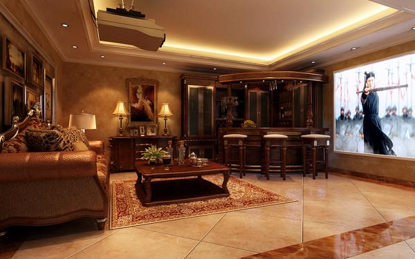 整个休闲空间的设计追求简洁,墙壁大量采用壁纸,勾勒出厚重古朴的空间感。吧台、酒柜、沙发均采用实木,灯具、壁灯则采用铜质,几种常见的材质巧妙融合在一起照样能营造艺术的气息