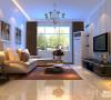 侧面看客厅效果,给人感觉空间很敞亮,选用了深色的窗帘、地毯和电视柜,是客厅的层次更加分明了。