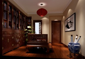 简约 新中式 高度国际 时尚 白富美 三居 白领 80后 小资 书房图片来自北京高度国际装饰设计在远洋东方家园新中式三居的分享
