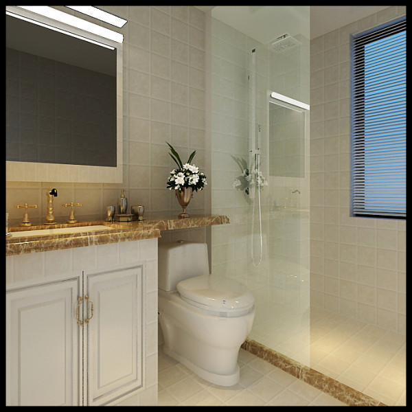 在小的空间里现场制作大理石台面,用玻璃隔断来防止淋浴时水的随处喷溅,既实用又美观,玻璃的运用又使小的看起来扩大了很多。