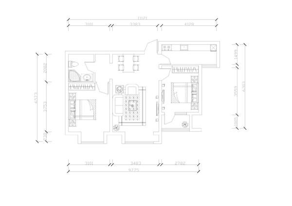 从入户门依次逆时针介绍,餐厅位于入户门旁边是个四人餐桌,卫生间与餐厅之间有空间,后期可做一个储物柜,增加储物空间,有划分了区域。
