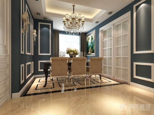 在餐厅和客厅之间添加一个柜子,配合不同的吊顶和不同的地砖,不仅柜子实用美观而且有效地分割了餐厅、走廊、和客厅的空间,使空间看起来更加宽敞。