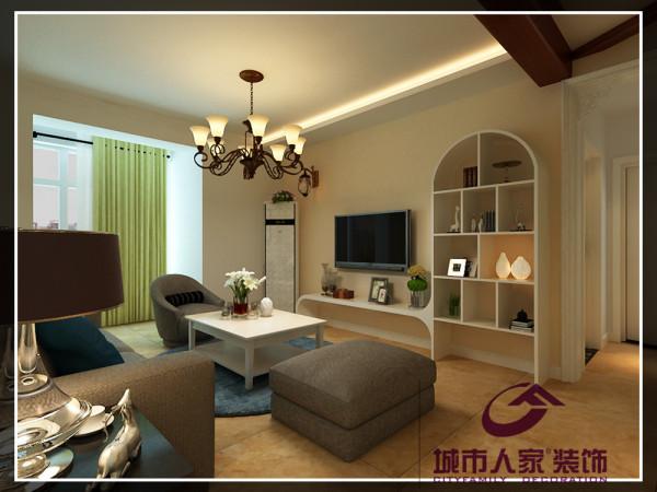 本案设计师以暖黄的浅色调为色彩基调。素色沙发与简洁造型、圆润设计的橱柜给客厅空间设定了素雅安逸的氛围。