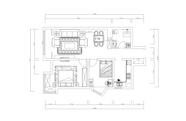 这套户型是两室两厅一厨一卫,入户的右手边是卫生间,左手边是厨房的位置,往里走时客餐厅的空间,客餐厅没有明显的分隔除了,厨房的旁边是次卧室,次卧室的旁边是主卧室。