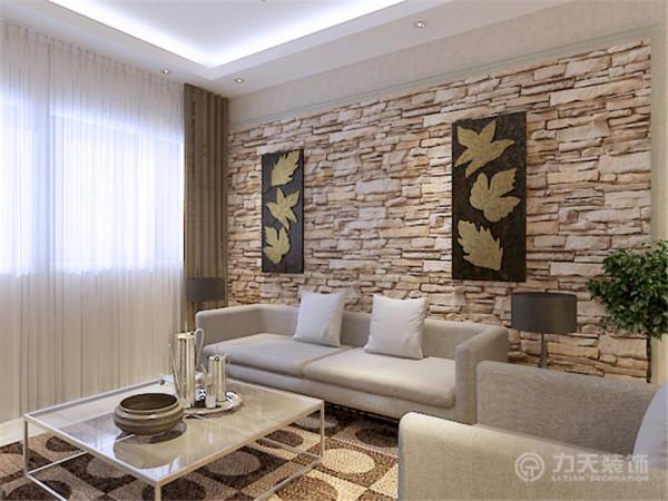 对面影视墙采用大片文化石造型,与沙发背景墙细腻形成对比,凹凸造型增加空间的动感与情趣。是空间看起来不那么呆板。