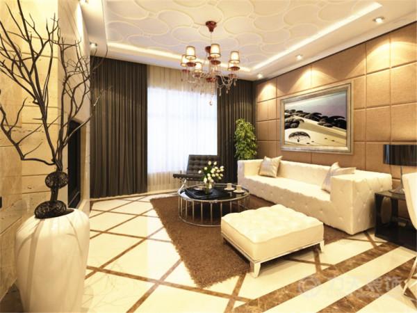 客厅部分采用石膏线造型设计增加了层次感,增添了整个房间的设计感,沙发背景墙采用硬包的处理,与皮质沙发形成很好的呼应。