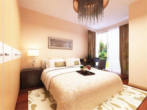 卧室以暖黄色为主调,强调温馨柔和的气氛,浅黄色的墙面,柔化了空间色彩感,浅色的床品干净舒适,在灯光的渲染下,打造出一个令人愉悦的私密空间。