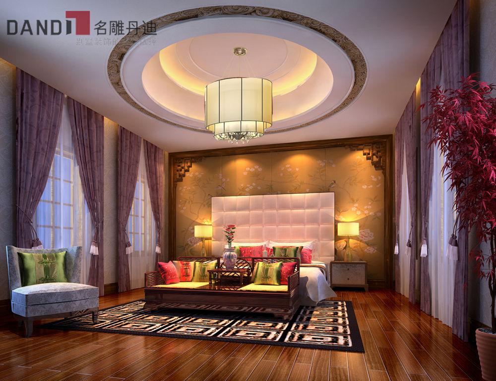 中式 别墅 中式别墅 别墅装饰 高富帅 豪宅 兰乔圣菲 中式客厅 卧室图片来自名雕丹迪在兰乔圣菲顶级中式别墅的分享
