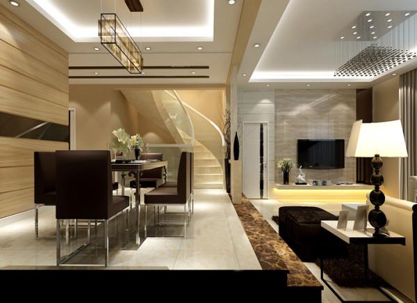 简洁大方的旋转楼梯使整个空间的设计感增强。