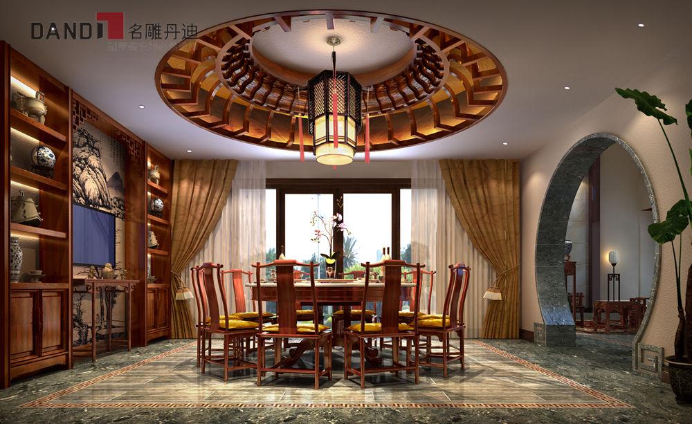 中式 别墅 中式别墅 别墅装饰 高富帅 豪宅 兰乔圣菲 中式客厅 餐厅图片来自名雕丹迪在兰乔圣菲顶级中式别墅的分享