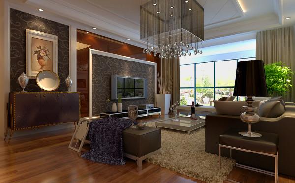 盛邦大都会-124平米三居装修-客厅效果图