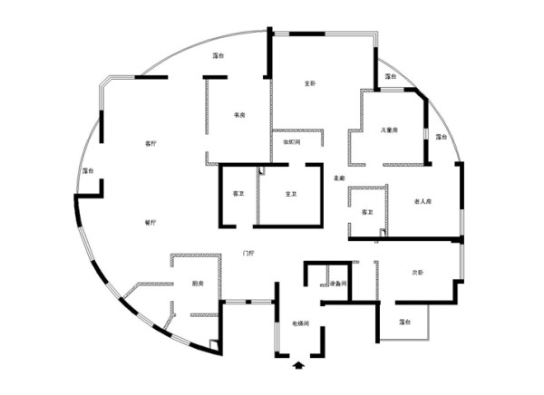 朝阳区世爵源墅小区260平米原始户型图