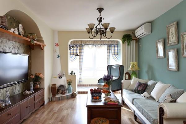 客厅整体 阳台方形拱门,电视背景墙内嵌式,沙发墙,顶部,地板三色搭配