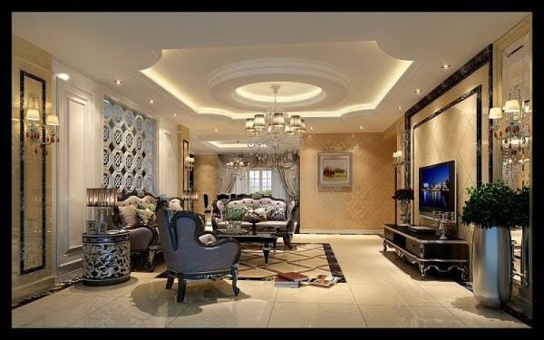 新古典风格没有造型也是不可行的,因此设计师在造型上采用了此图上的顶面和墙面造型。这样也把整个空间彰显的很大气,同时也体现出了房屋主人的高雅品味!