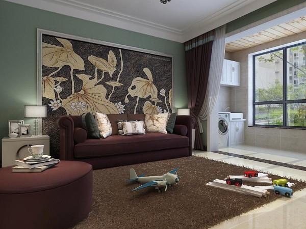 深褐色在客厅中成为主体,整个客厅显得简洁而又庄重。电视墙抛却以往墙面花色造型,在整体墙面上用双的石材造出颜色对比鲜明的效果墙。石家庄城市人家装饰