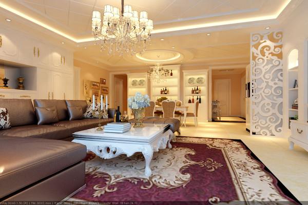 整个客厅奢华的金色调、浪漫紫色窗帘、暖色灯光等,张扬出欧式的奢华高贵气息;电视背景墙是欧式特有的拱形造型,咖啡色的皮沙发彰显出主人的生活品质。