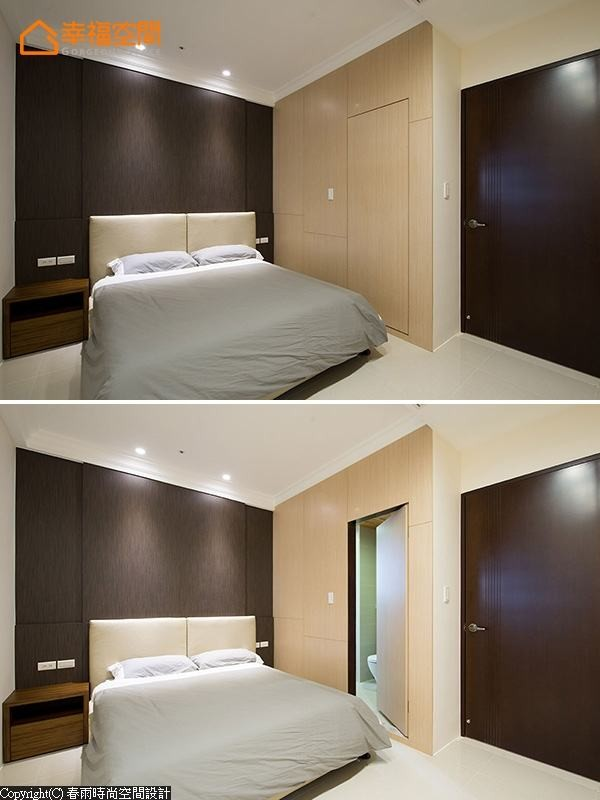 通往卫浴的门片,同样藏于隐约的线条刻画中。