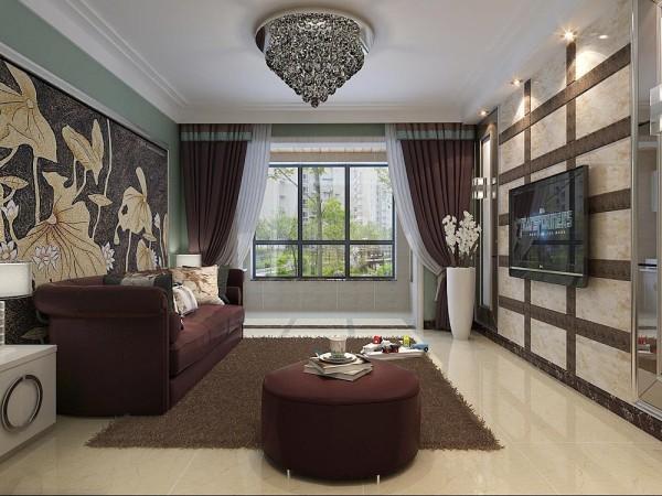 与沙发同色系的窗帘,水墨白描感极强的沙发背景墙,让拥挤的客厅多了几许艺术感。 石家庄城市人家装饰