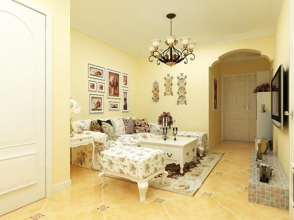 整体色调以米黄色乳胶漆为背景墙,地砖也是同色调的仿古砖,为业主营造了温馨的感觉。铁艺的小挂盘,以及灯饰,使室内弥漫着田园气息。