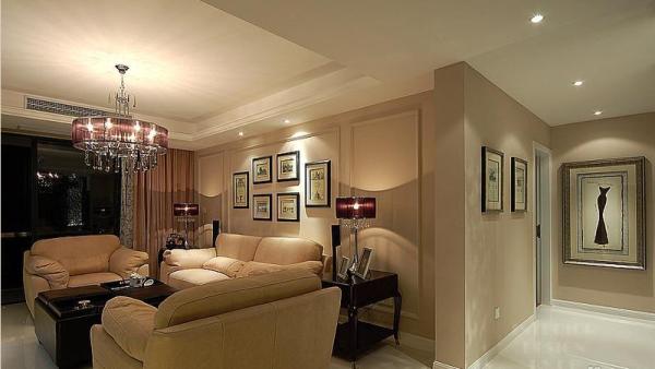 时尚雅致 富裕简欧型公寓 简欧风格,三居室装修,富裕型装修,欧式风格,简约风格,客厅,简洁,温馨,沙发,茶几,窗帘,灯具,沙发背景墙,过道,装饰画