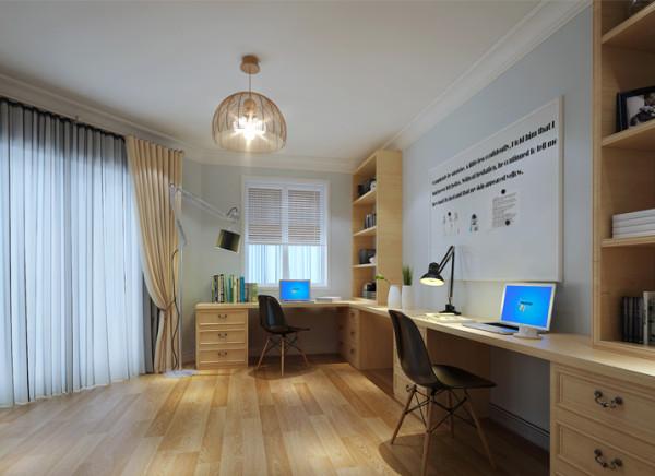 设计理念:因业主需求两个工作台,既起到相互不打扰的需求,又能有微妙的互动。在墙面放置磁性玻璃,工作既娱乐。 亮点:精炼简洁、线条明快、造型紧凑,实用和接近自然是北欧现代家具的两个主要特点。