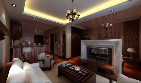 原始的呼唤 地板、沙发、沙发墙都大量地运用了褐色系木材,在视觉上有着泥土的质朴;清新的格子布窗帘和纯白布艺沙发面让人眼前一亮,自然气息扑面而来。