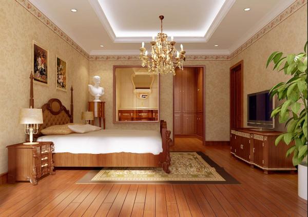 卧室大床实木,不用雕饰,仍保有木材原始的纹理和质感,带有顶角线的壁纸  温馨大方有质感,宽大的衣帽间满足了女主人庞大的储物功能。