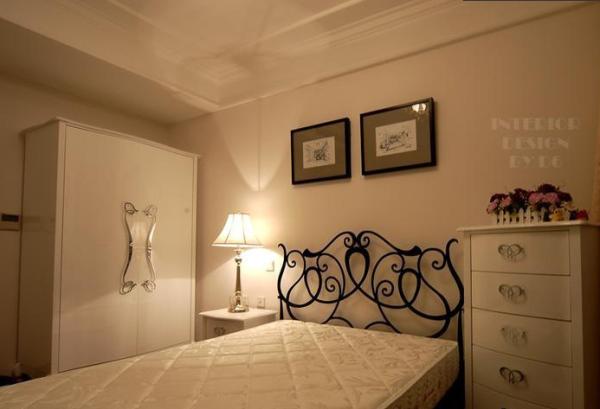 时尚雅致 富裕简欧型公寓 简欧风格,三居室装修,富裕型装修,欧式风格,简约风格,卧室,简洁,温馨,床,床头柜,灯具,衣柜,窗帘,卧室背景墙